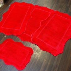 ROMANY WASHABLES GYPSY MATS 4PC SETS NON SLIP SCOLLOP DESIGN RED LUXURY RUGS